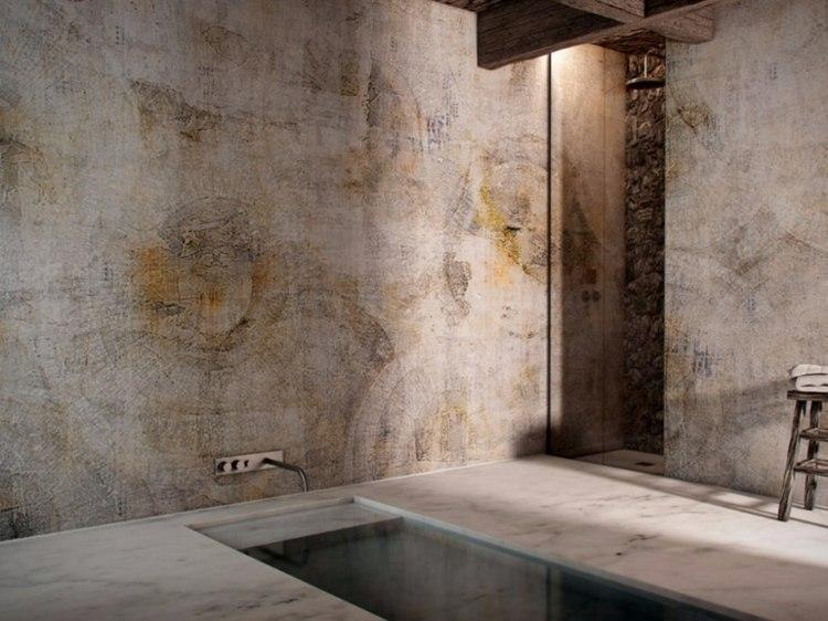 Badezimmer Tapete  Waschbares Vinyl als Schmuckstck fr die Wnde
