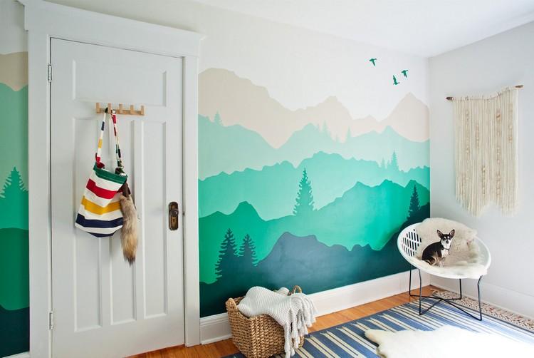 Wandgestaltung mit Farbe  Wandgemlde von Bergen selber machen