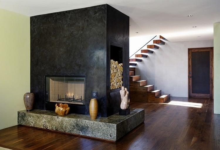 wandgestaltung mit spachteltechnik wohnzimmer kamin wande krativ ... - Kamin Wandgestaltung