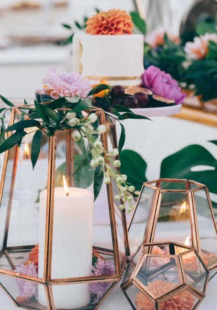 Deko zur Hochzeit in Wei  Kupfer fr ein elegantes rustikales Ambiente