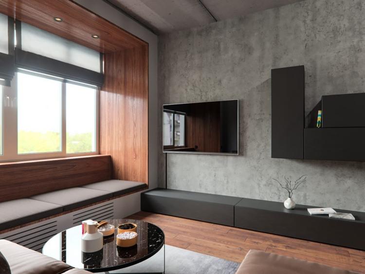 Beton und Holz in enge Verbindung  Ein harmonisches Interieur