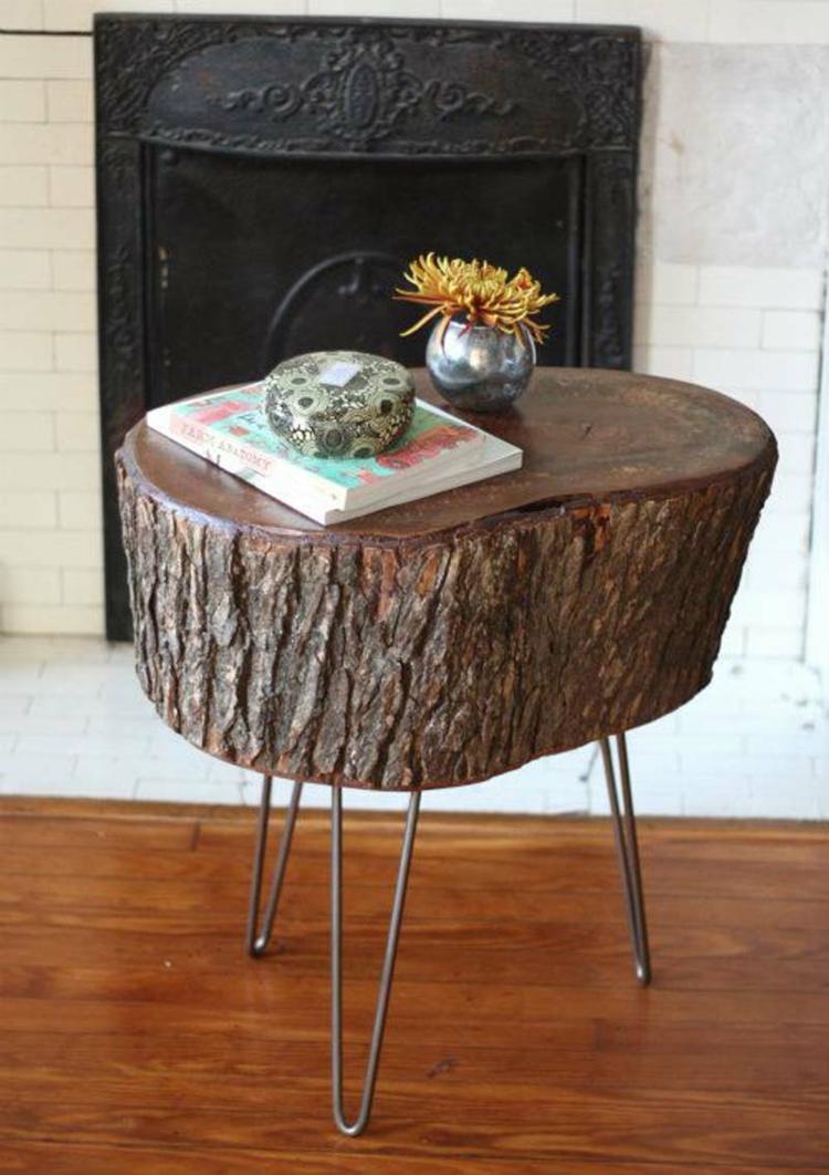 Couchtisch aus Holzscheibe  Echtholz fr puristisches und rustikales Flair