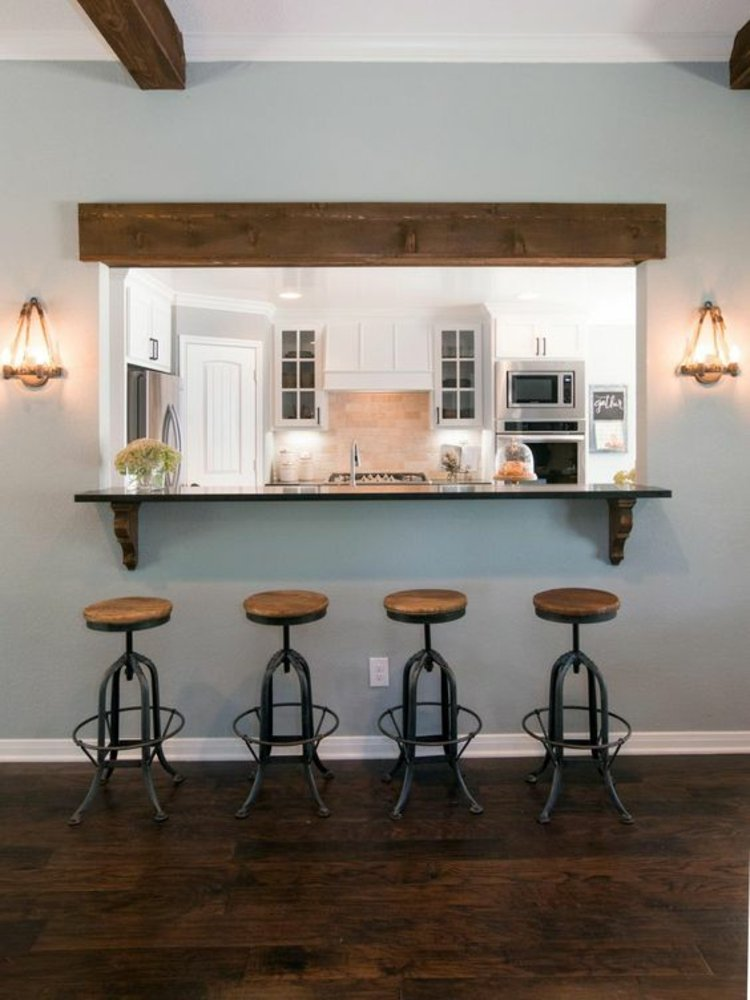 wohnzimmer bar rustikal bar spiegel tresen barhocker holz - boisholz