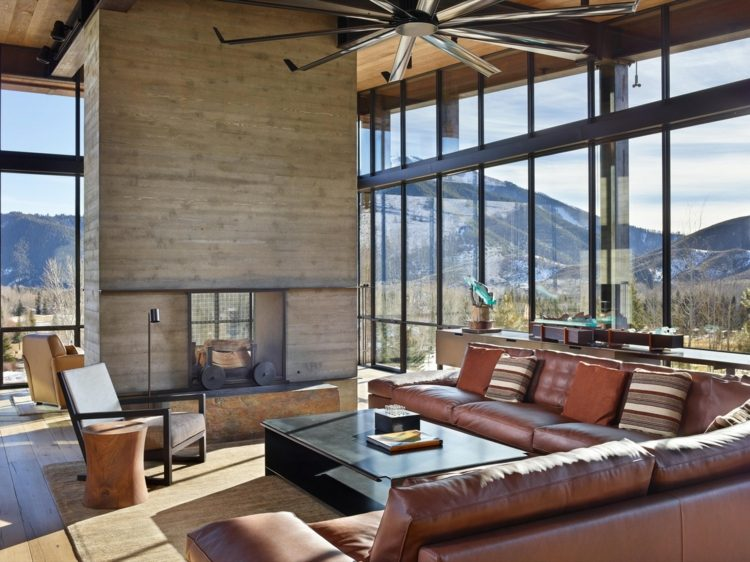 Industrial Style Mbel  Accessoires in einem modernen Haus im Gebirge