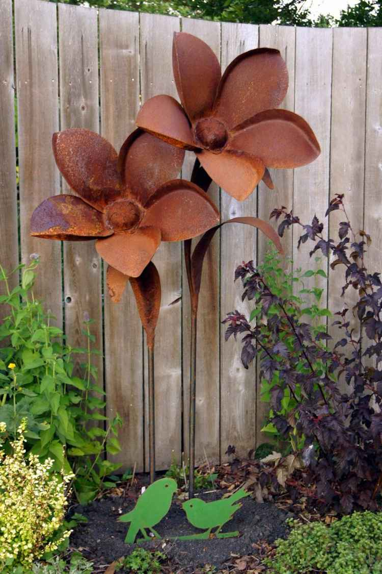 Gartendeko Rost Stecker Gartengestaltung Blumen Holzzaun