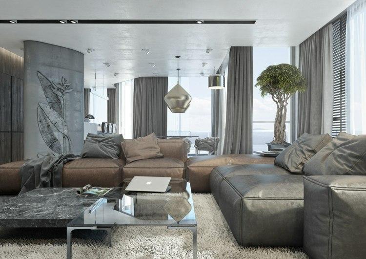 Mit dem trendigen Farbtrio Grau Braun Wei den Wohnbereich