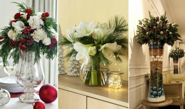 Eine groe Glasvase weihnachtlich dekorieren 10 Deko