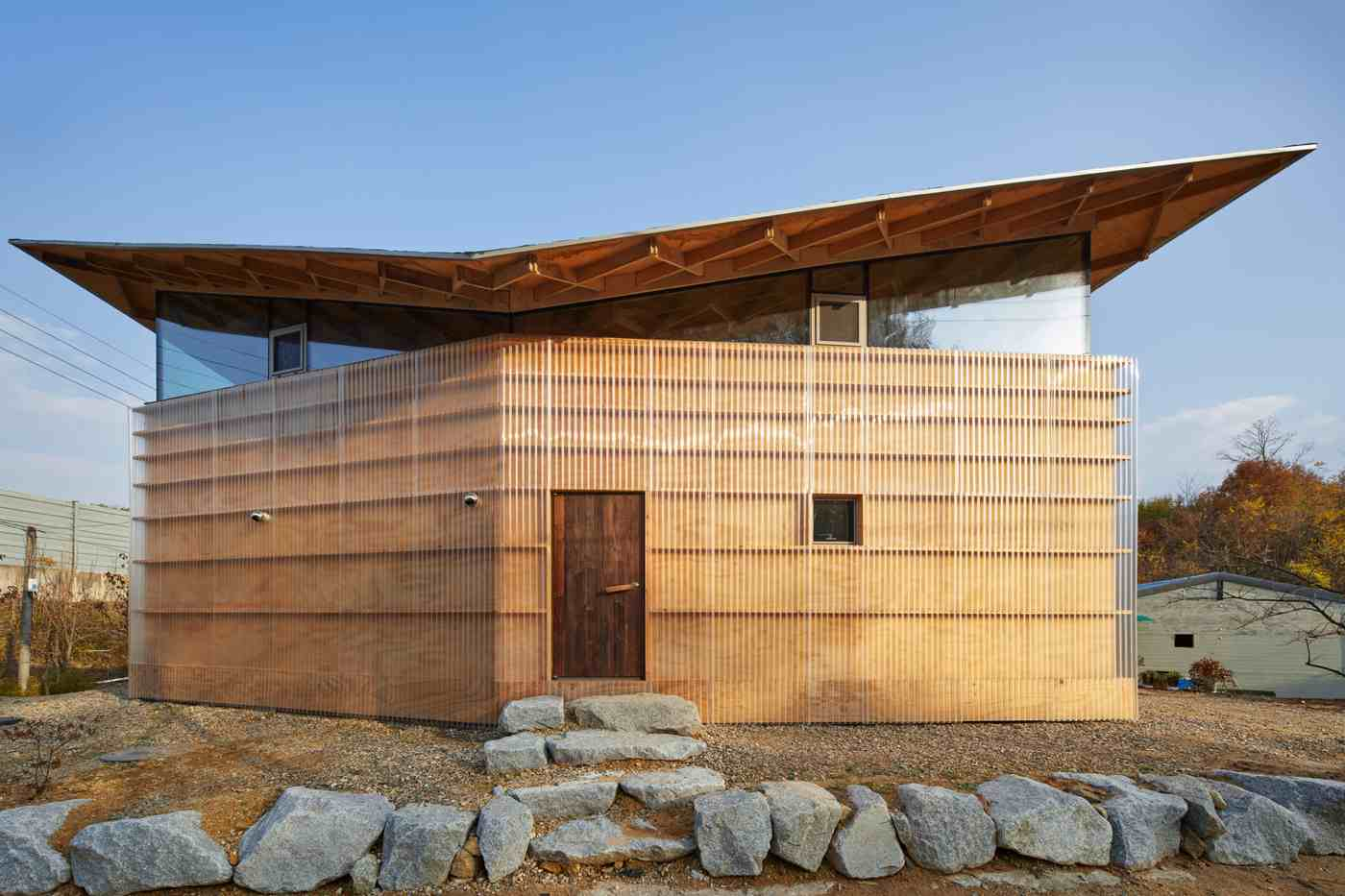 Wooden house South Korea entrance in front