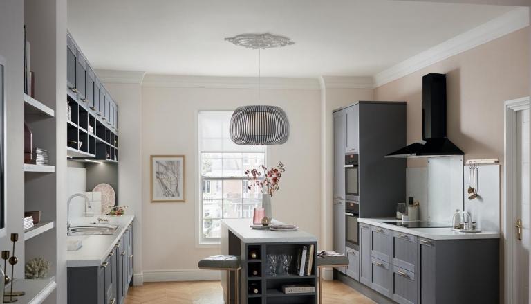 Graue Küche Mit Holzarbeitsplatte   Modernes Haus Küche ...