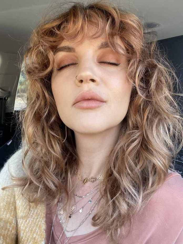 Curly Shag hairstyle with bangs short hair style