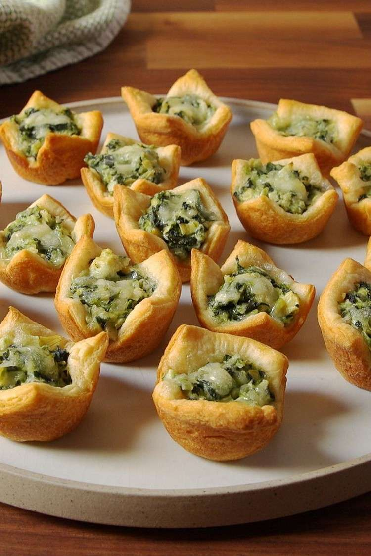 Prepare artichokes in puff pastry as appetizers