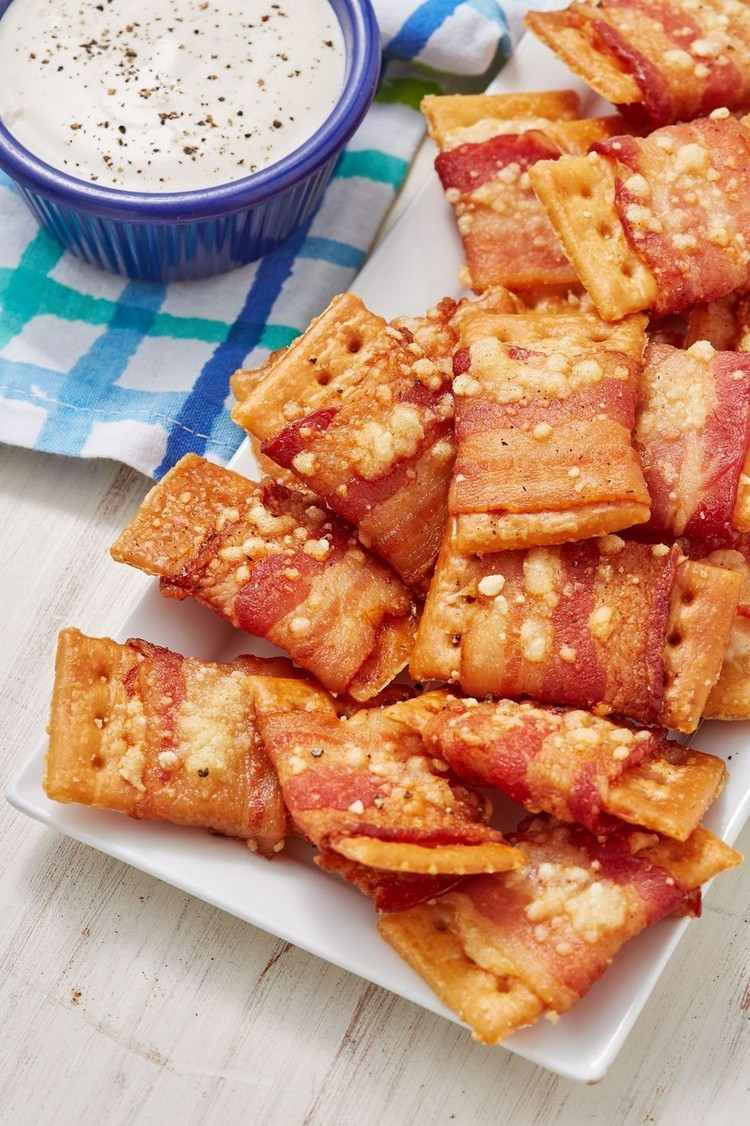 Party canapes for New Years bacon crackers