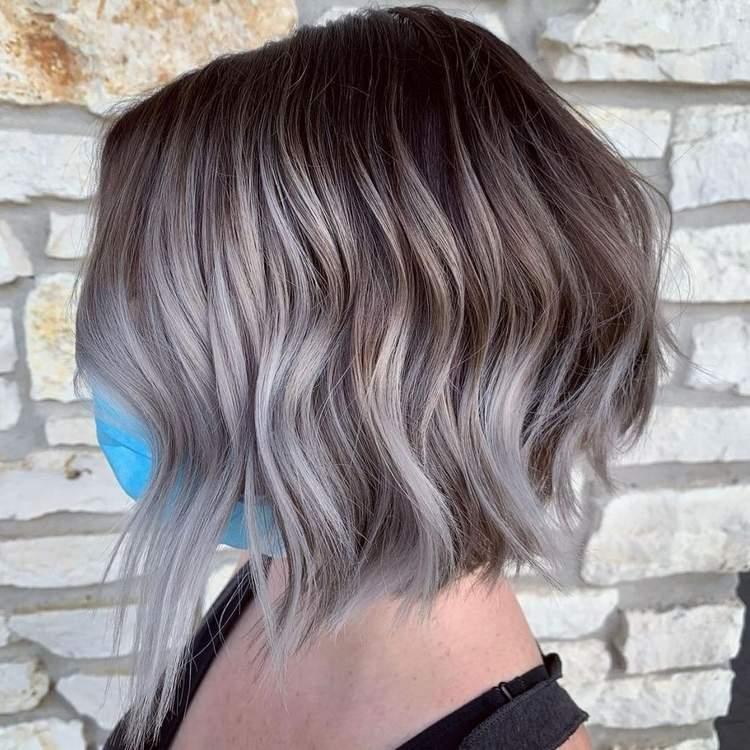 Strähnen braune haare bob blonde Braune Haare
