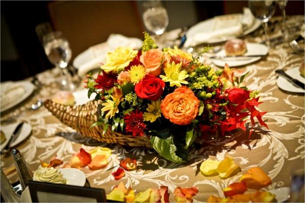 Dcoration de table dautomne originale fleurs pour maison