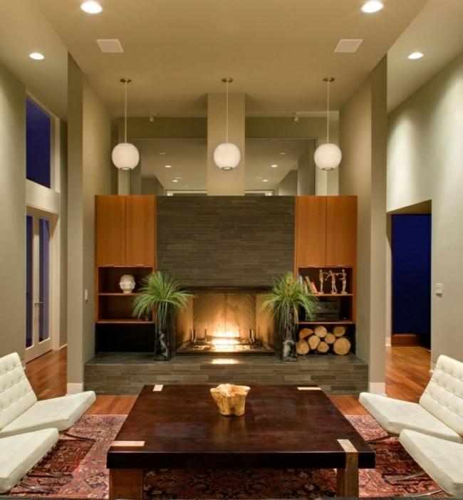 33 ides de pole chemine design pour votre salon moderne