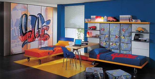 Chambre ado garon  22 idees originales en couleur bleue
