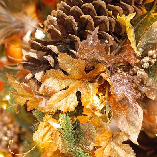 décoration du sapin de Noël pommes-pin-feuilles-sèches