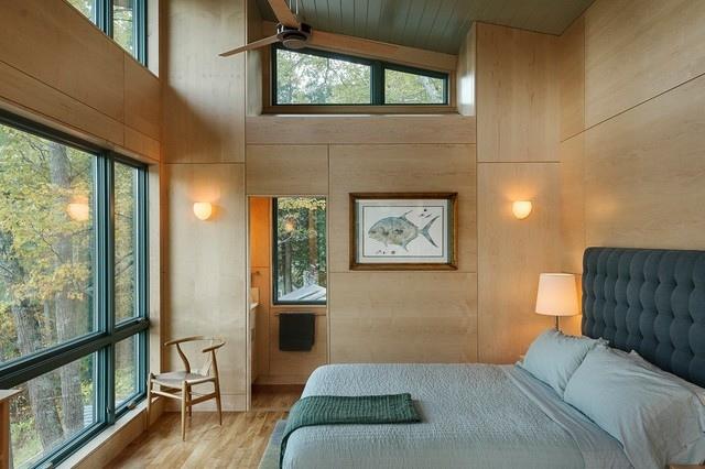Lambris mural en bois dans la chambre en 27 bonnes ides