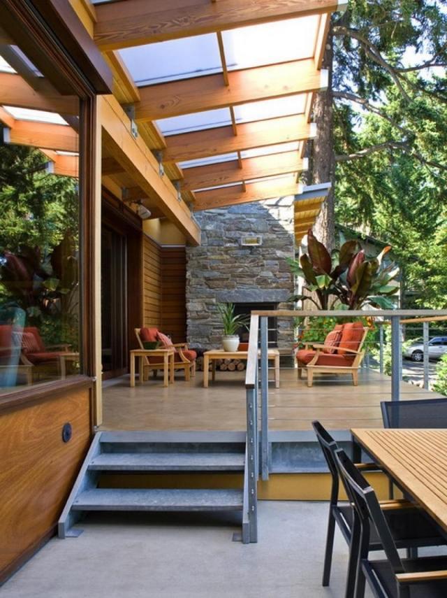 Amnagement Terrasse Avec Auvent Bois Plexiglas Aluminium