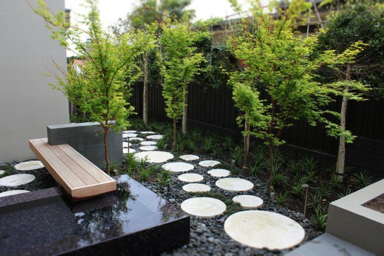 Dcoration jardin avec gramines dornementarbres et pierres