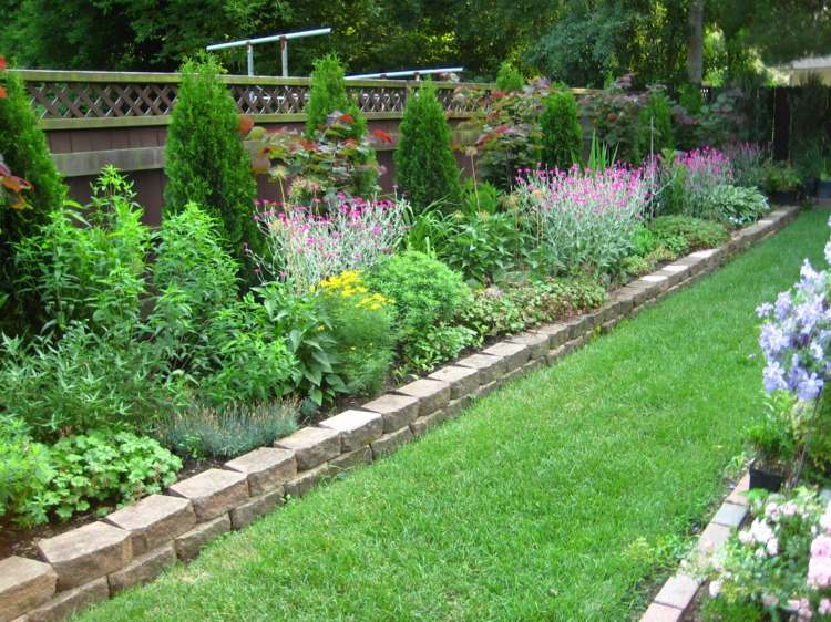 Ides de bordure de jardin en pierre bois et mtal