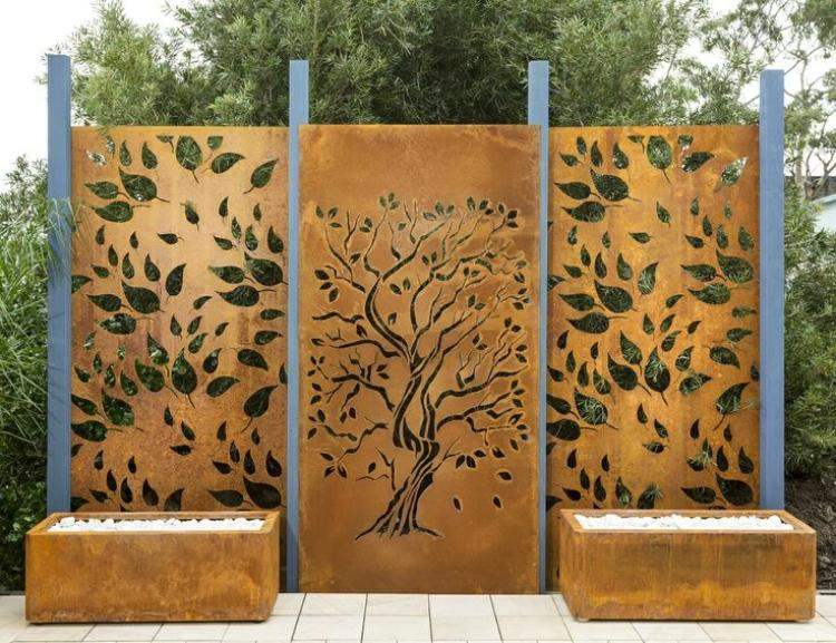 Design Exterieur Jardin Deco Brise Vue Jardin Acier Corten