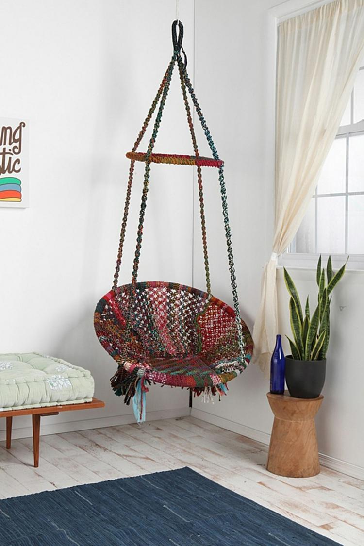 Article hamac fauteuil rond suspendu deco socle coussin marron globo chair terracotta amazonas