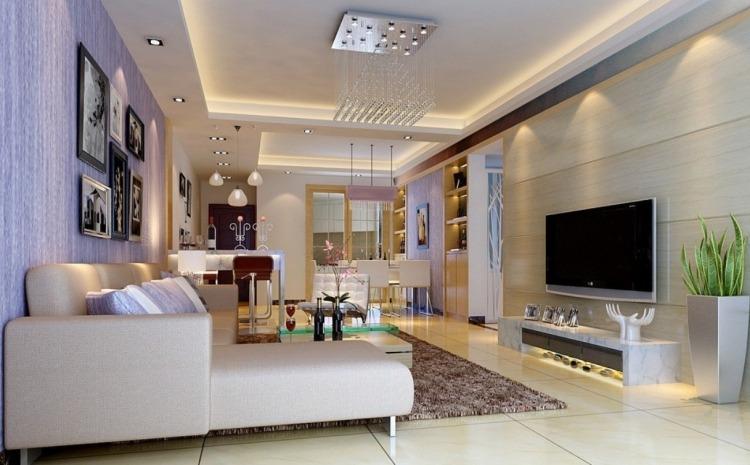 clairage led salon  30 ides ultra modernes