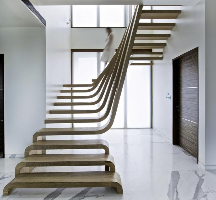 Escalier design moderne idees en bois beton metal ou verre design interieur - Escalier design bois metal ...