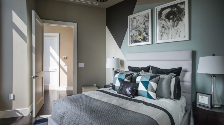 Chambre Taupe Et Turquoise