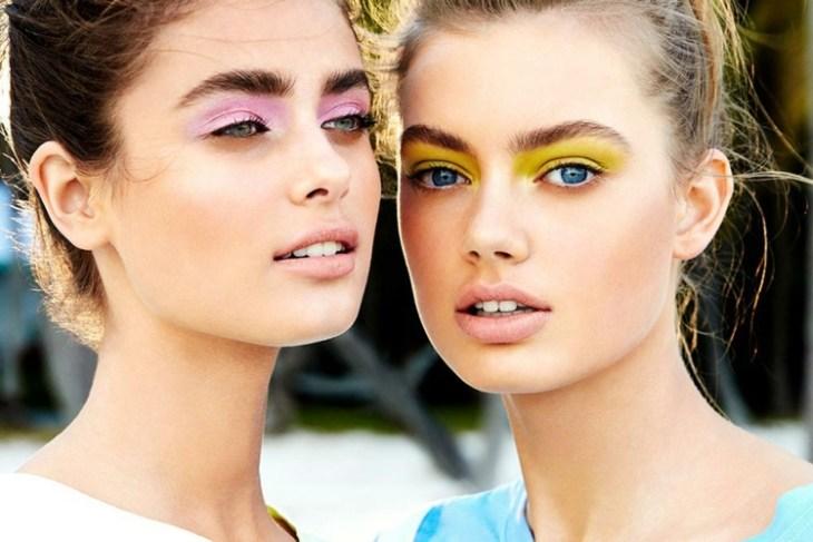 idees-maquillage-ete-couleurs-rose-pâle-jaune idées maquillage