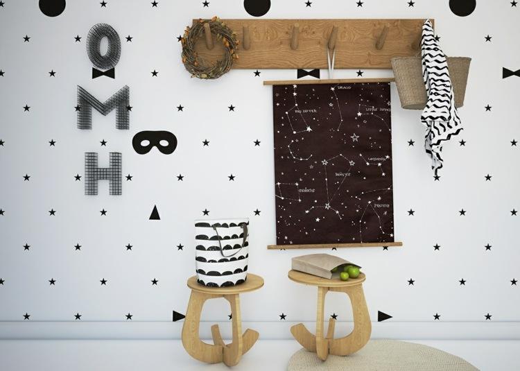 Dco chambre enfant avec papier peint et sticker mural