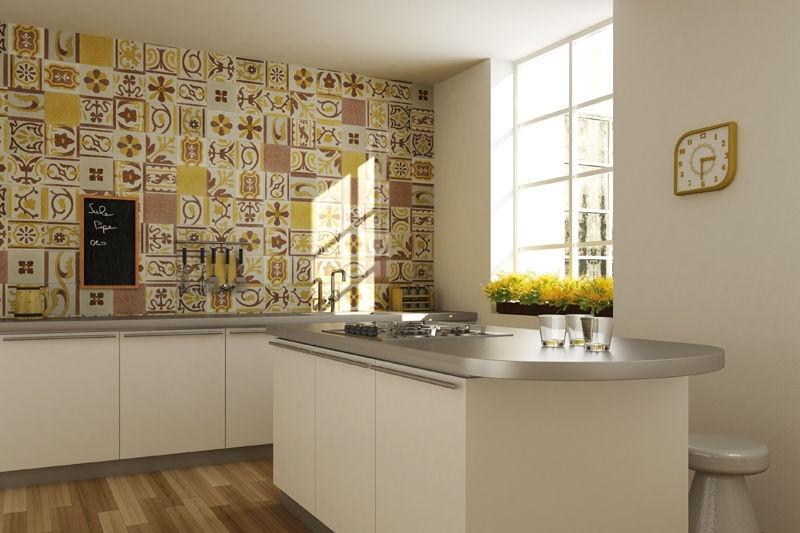 Crdence cuisine carreaux de ciment patchwork et artistique
