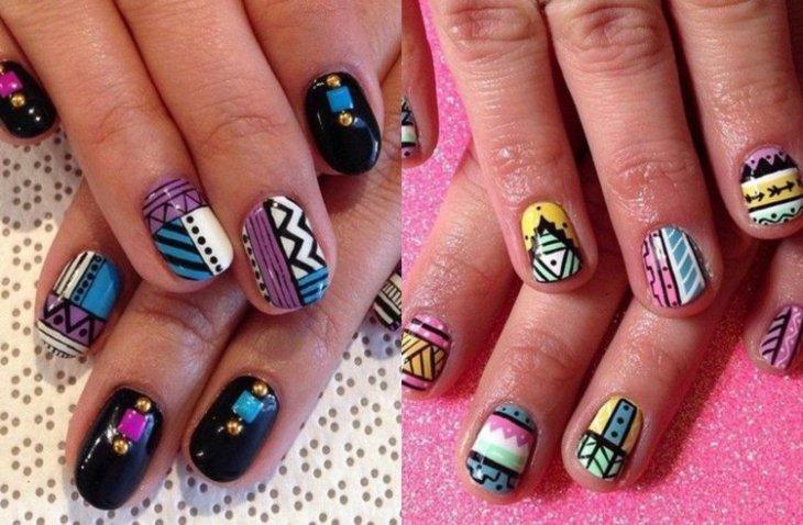 nail-art-motif-azteque-couleur-bleu-jaune-violet