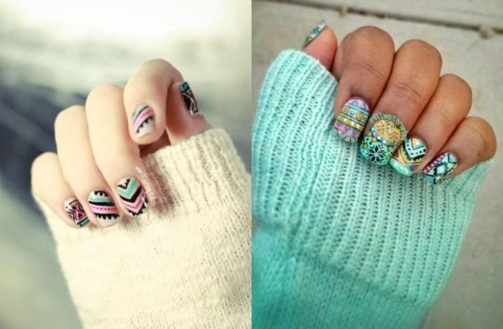nail-art-motif-azteque-couleur-turquoise-noire