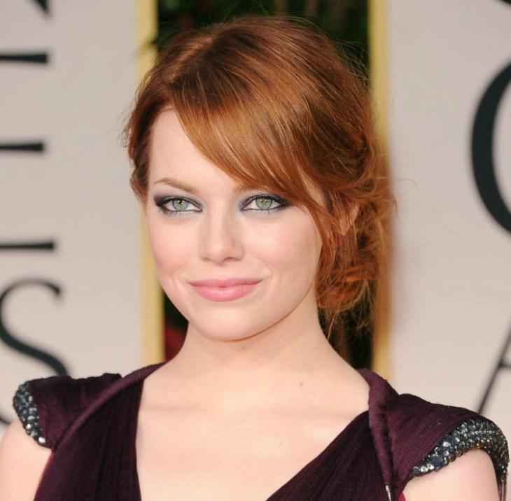 comment bien maquiller Emma Stone rouge lèvres rose poudré