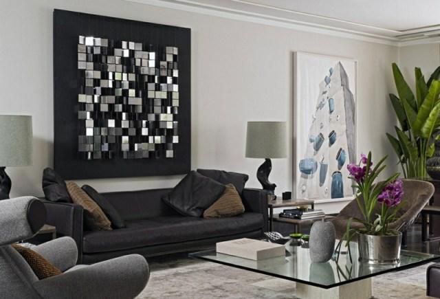decoration-salon-plantes-vertes-orchidée-déco-murale-tableau-3d-cubes-métal décoration de salon