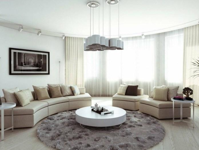 decoration-salon-tapis-gris-rond-table-basse-blanche-canapé-beige