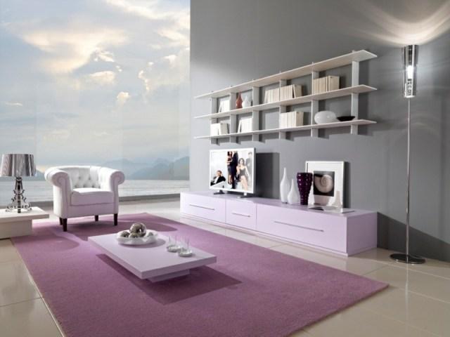 decoration-salon-tapis-lilas-accent-mobilier-blanc-meuble-tv-bas-rose-pâle