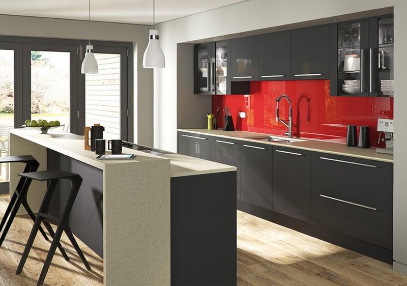 Cuisine Mur Rouge Et Gris Excellent Awesome Cuisine Blanche Et - Cuisine rouge et grise