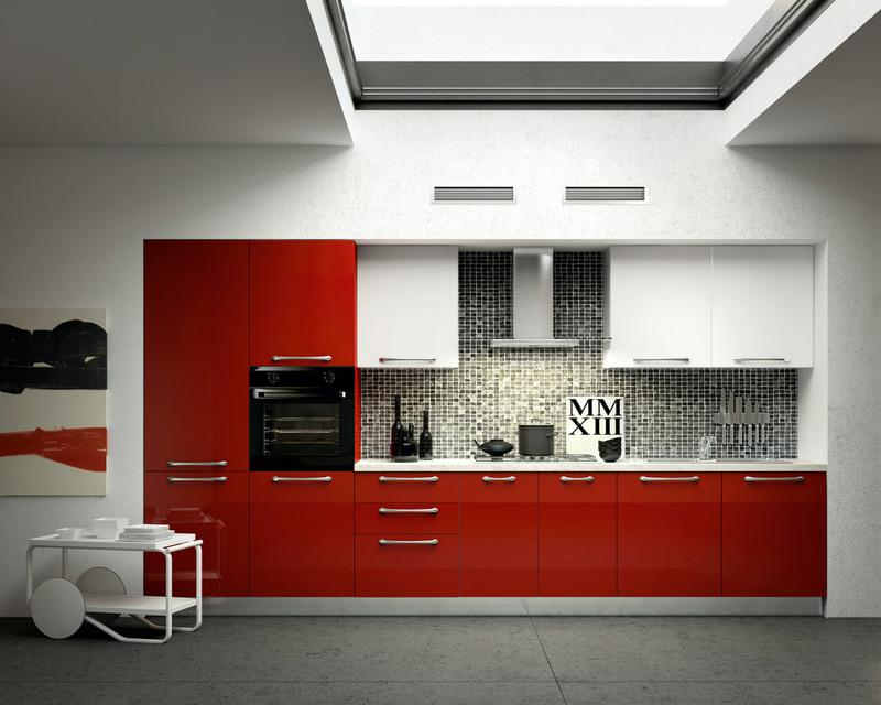 Cuisine rouge et grise qui incarne lide dune vie moderne