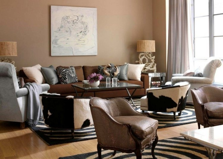 Design Interieur Salon Salle Sejour Peinture Marron Papiers Peints Salon