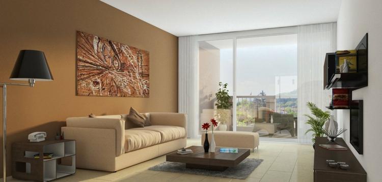 Peinture marron papiers peints et revtements dans le salon