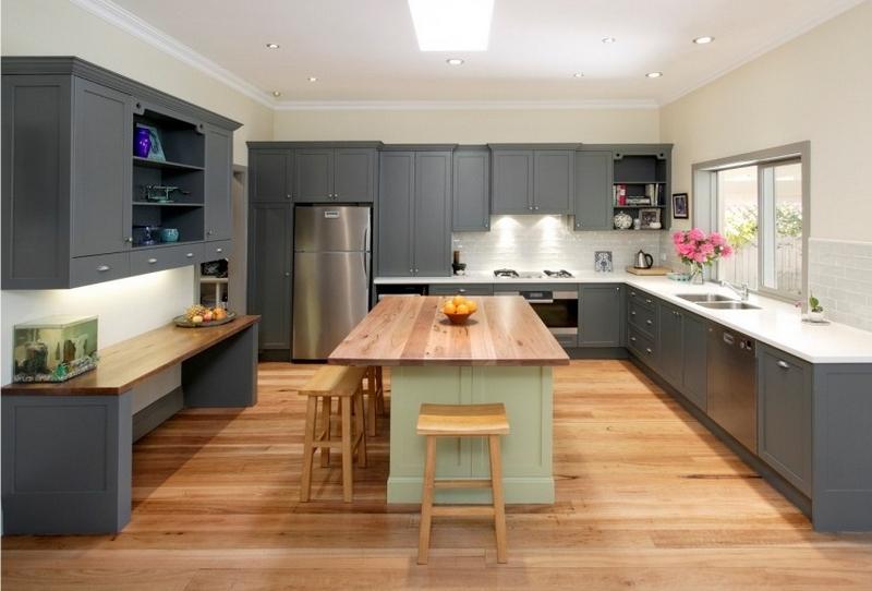 cuisine gris et bois en 50 modeles