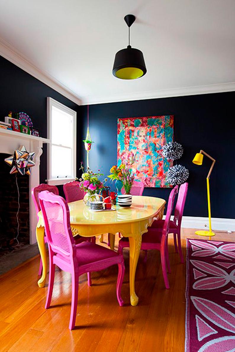 Ide dco salle  manger o la dco murale colore prend vie