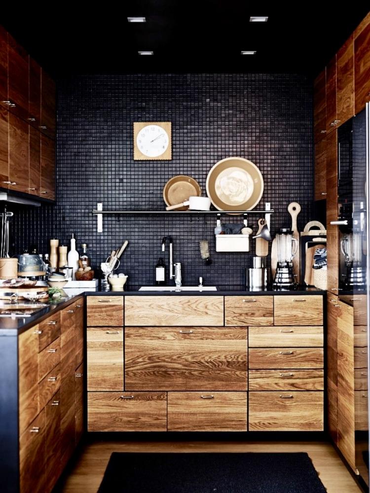 cuisine noire et bois en 42 idees de