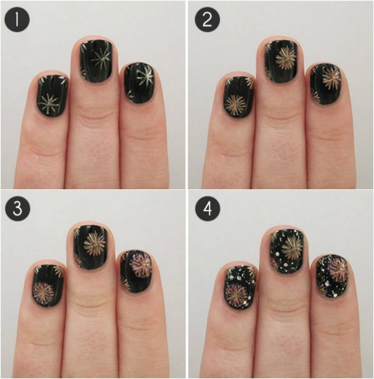 tuto nail art –nouvel-an-motif-feu-artifice-multicolore