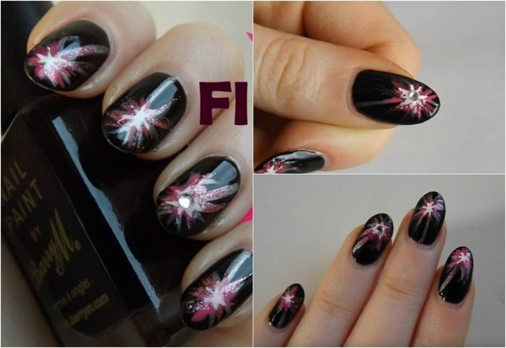 tuto nail art –nouvel-an-vernis-ongles-noir-motif-feu-artifice-strass