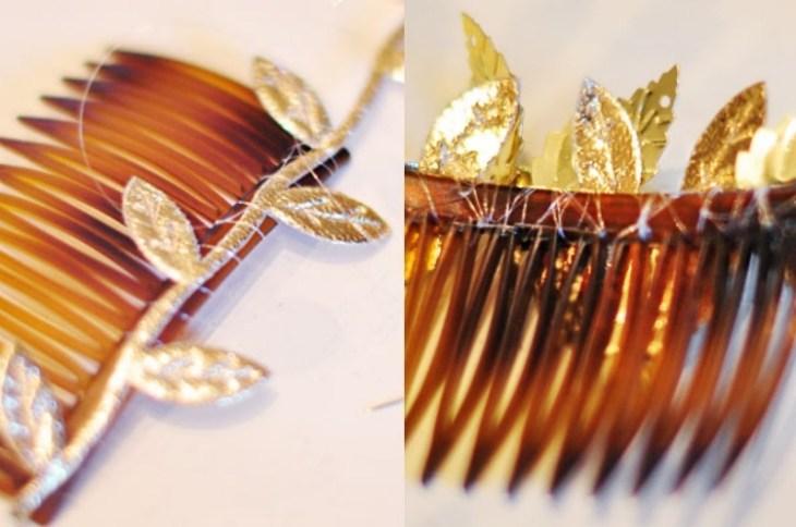 accessoire pour cheveux -peigne-cheveux-coudre-feuilles-dorees