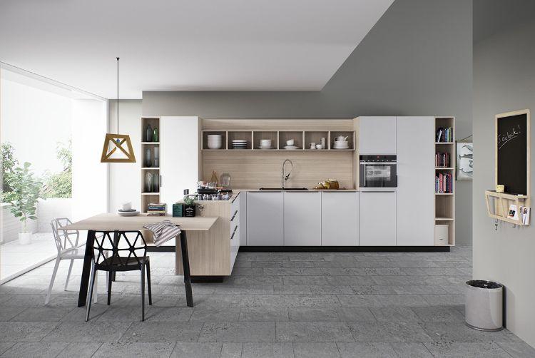 cuisine bois et blanc moderne 25